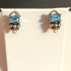 Lagos blue topaz & pearl 18k & 925 earrings